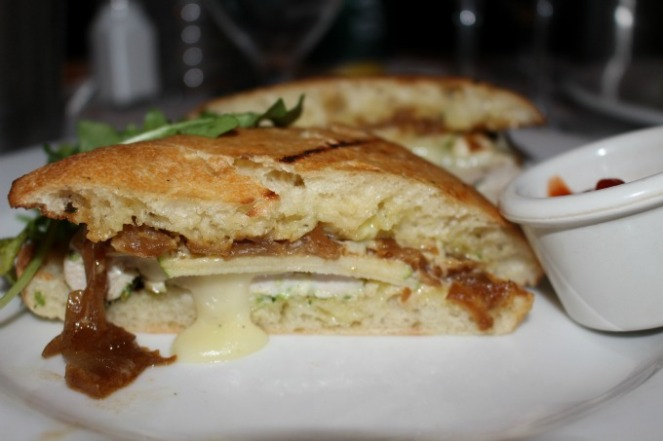 Warm chicken and brie sandwich