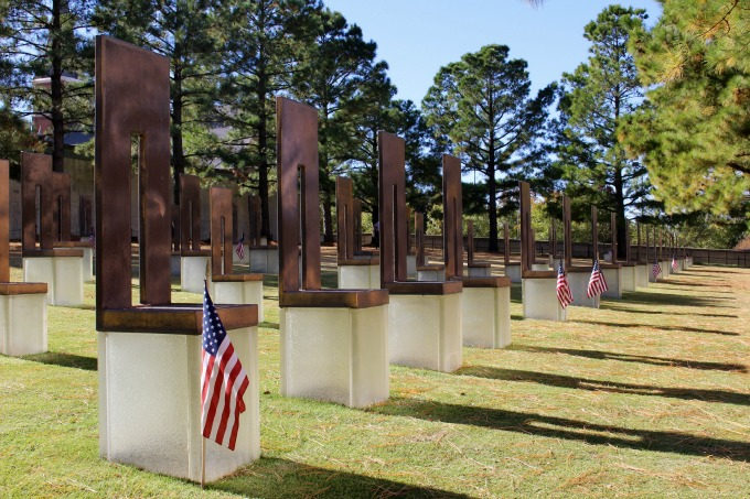 "Rows comprising the ""Field of Empty Chairs"" honor those who died on April 19, 1995."