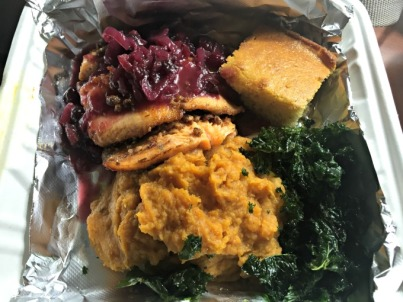 Pecan and praline encrusted trout over pureed sweet potatoes with a cranberry compote and garnished with fried kale – The Silver Dollar