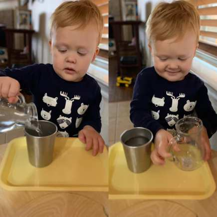 Using a glass pitcher to pour his own water.